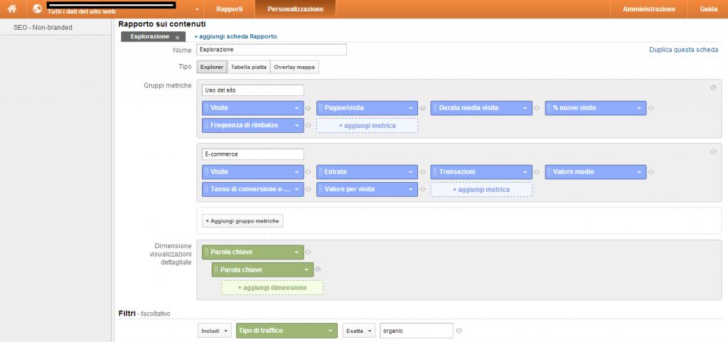 analytics schermata personalizzazione traffico organico